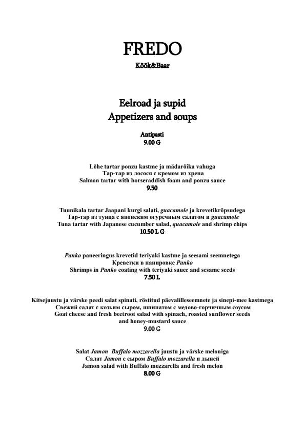 Fredo Kitchen & Bar menu 1/5