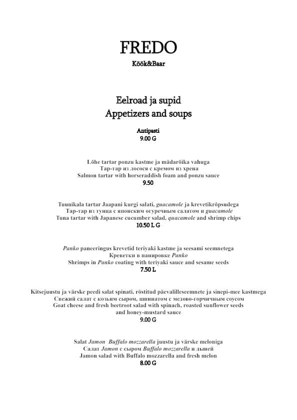 Fredo Kitchen & Bar menu 1/3