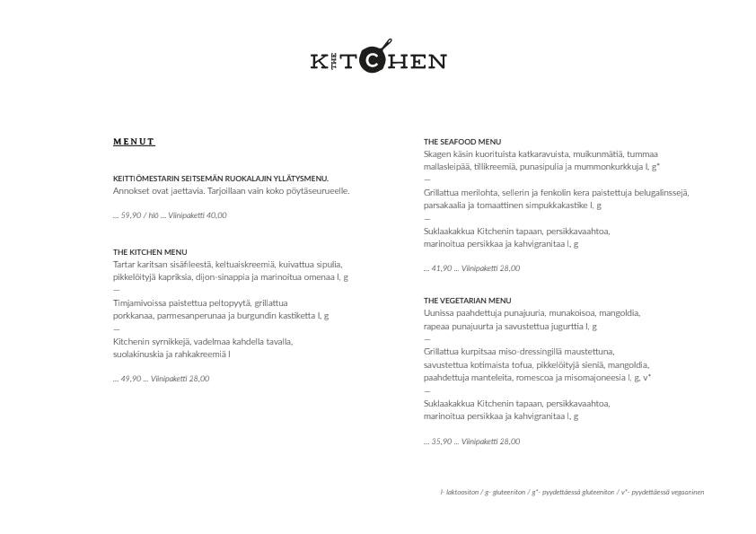 The Kitchen menu 8/10