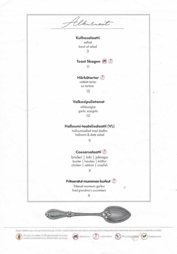 Ravintola Teini menu 1/7