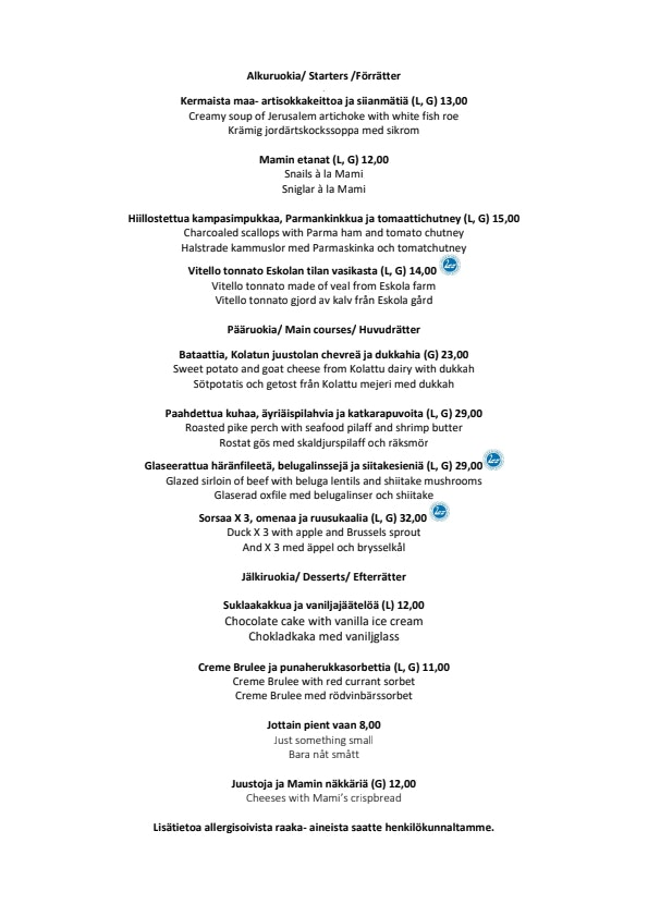 Mami menu 2/2