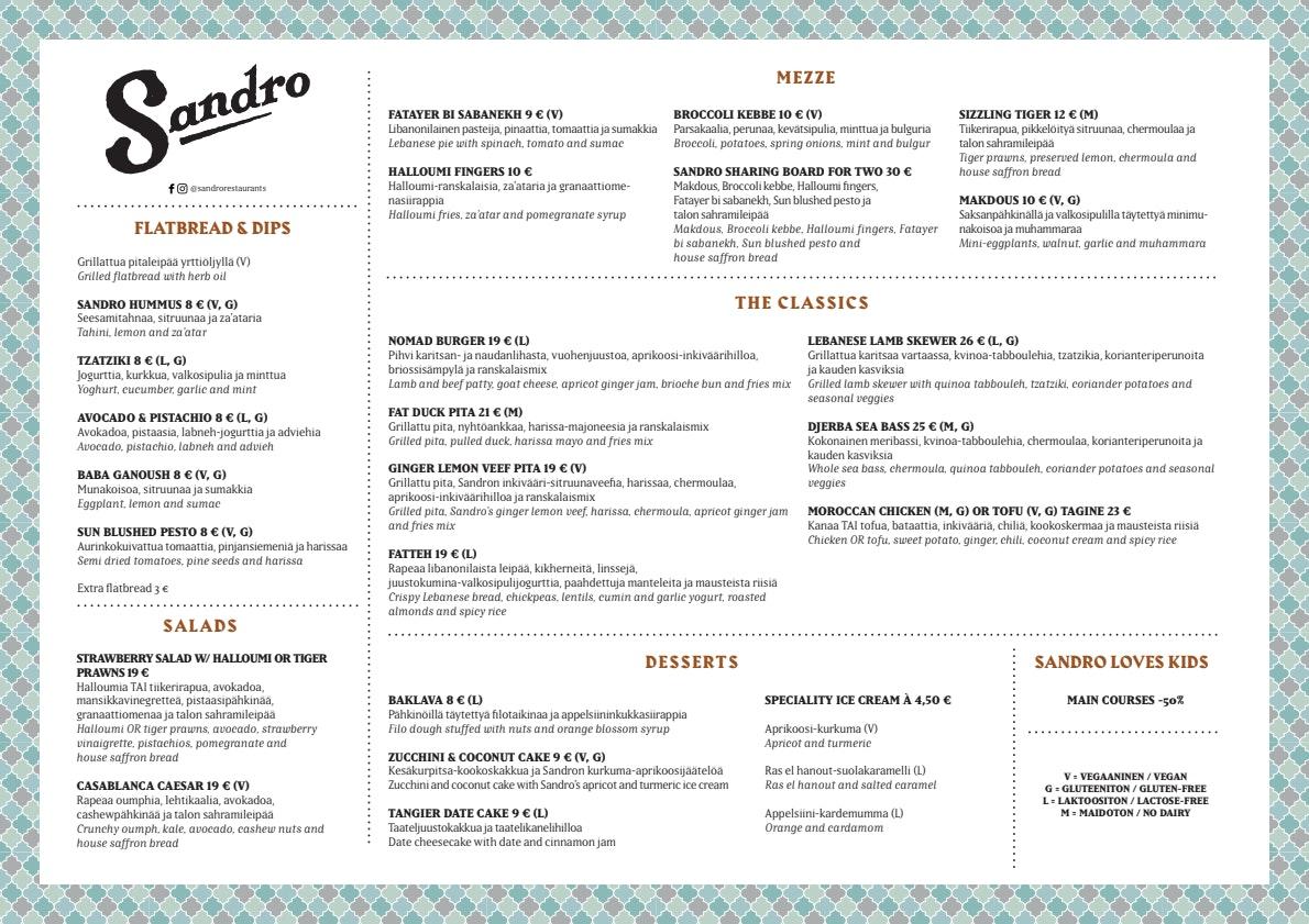 Sandro Tapiola menu 1/1