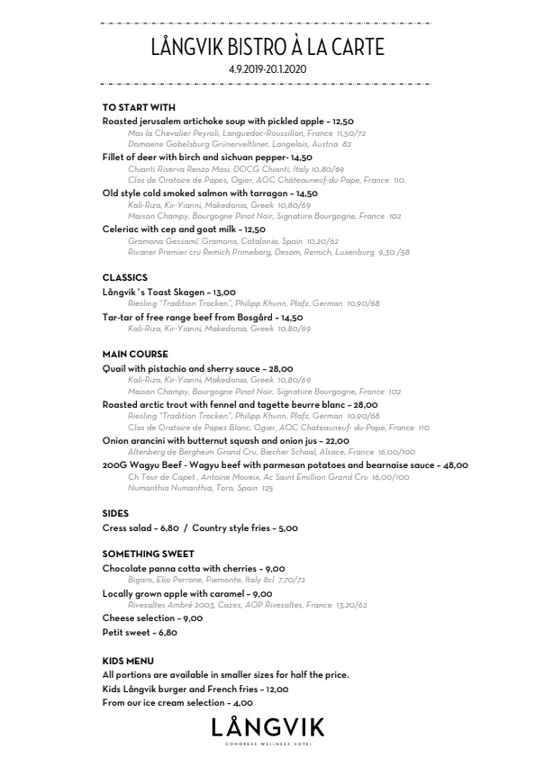 Långvik Bistro menu 1/4