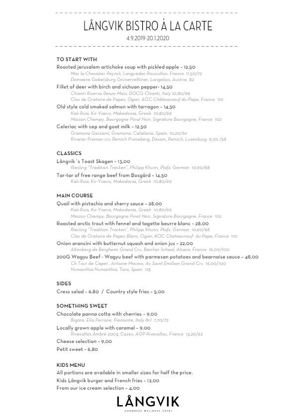 Långvik Bistro menu 2/4