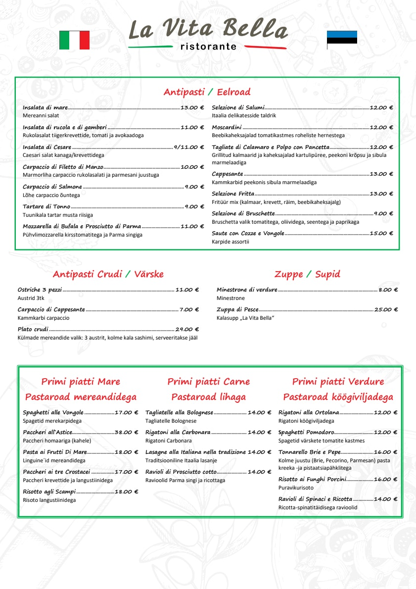 La Vita Bella menu 1/2