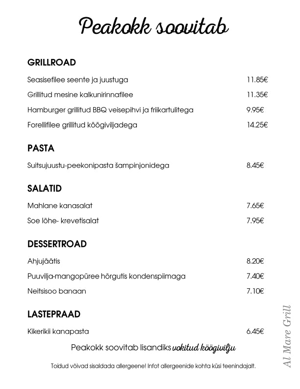 Al Mare Grill menu 8/21