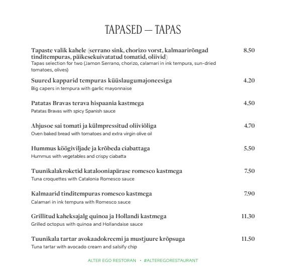 Alter Ego menu 5/14