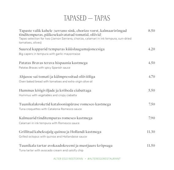 Alter Ego menu 7/14