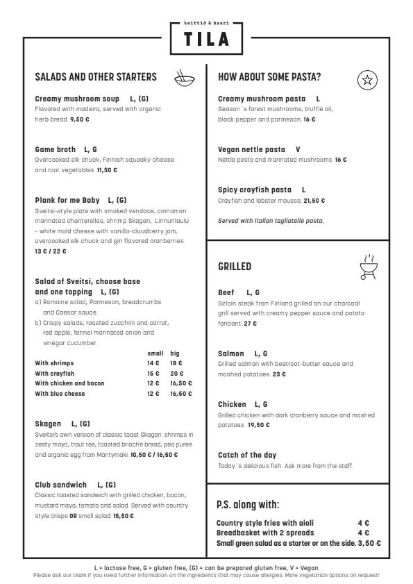 TILA menu 3/3