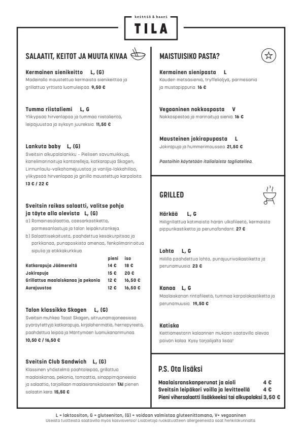 TILA menu 2/3