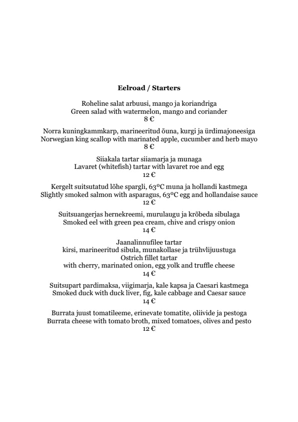 Dominic Veinirestoran menu 2/4