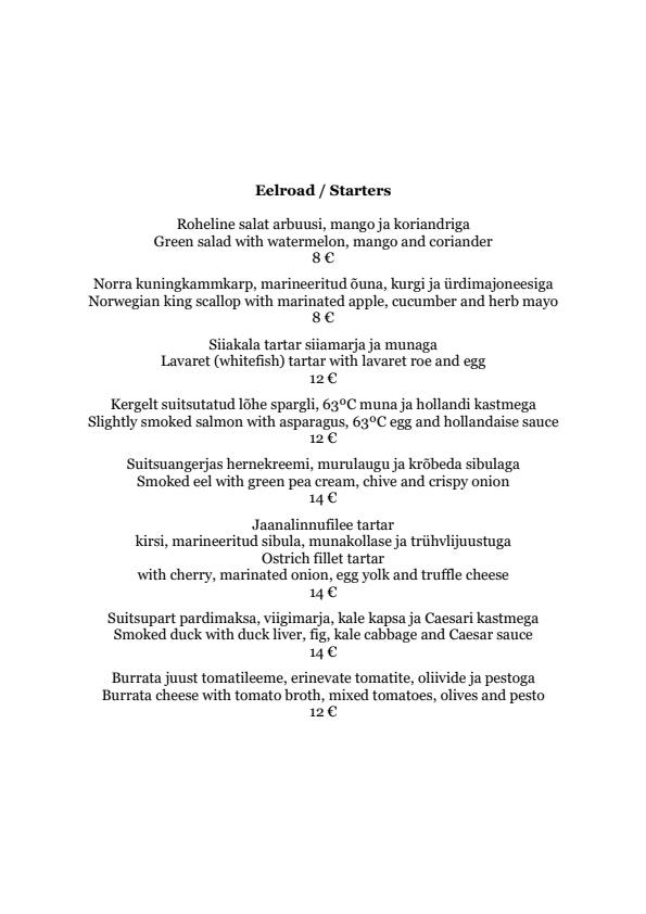 Dominic Veinirestoran menu 1/4