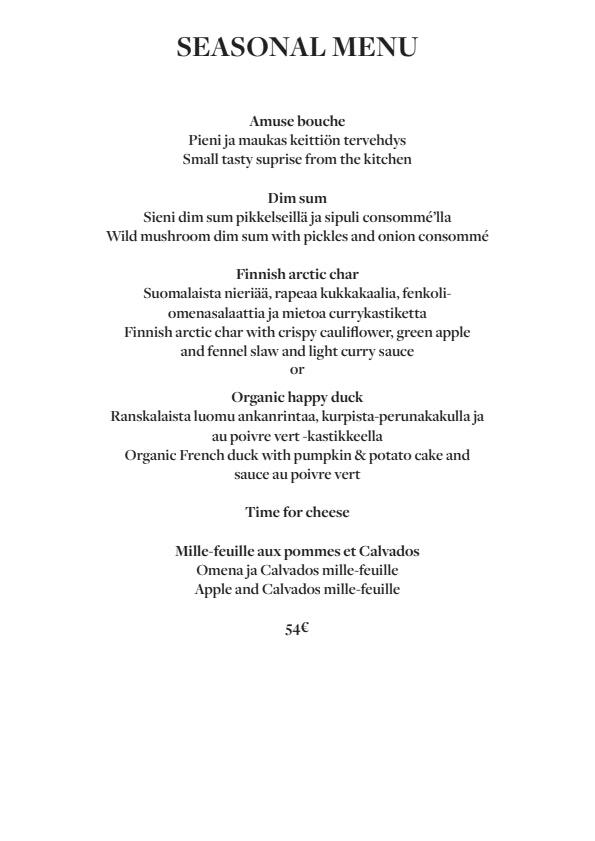 Fabrik Helsinki menu 1/5