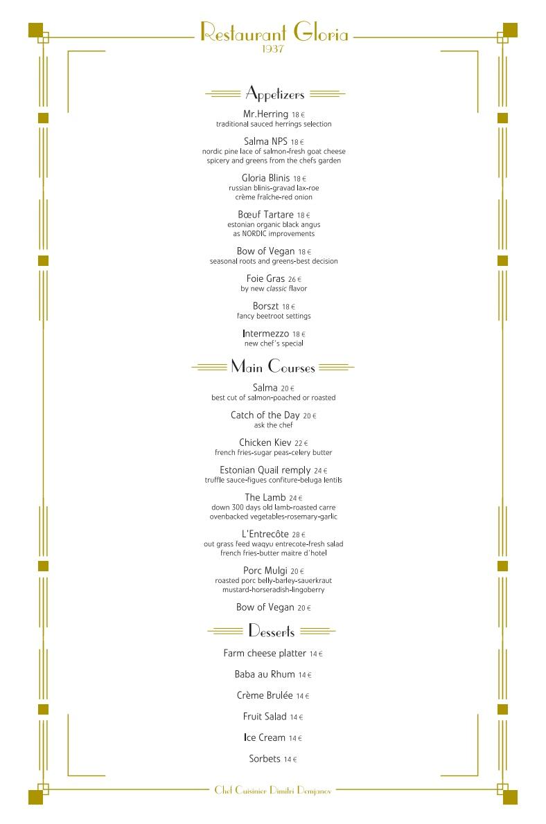 Gloria 1937 menu 2/2