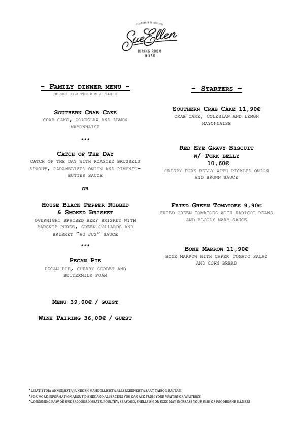 Sue Ellen menu 1/2