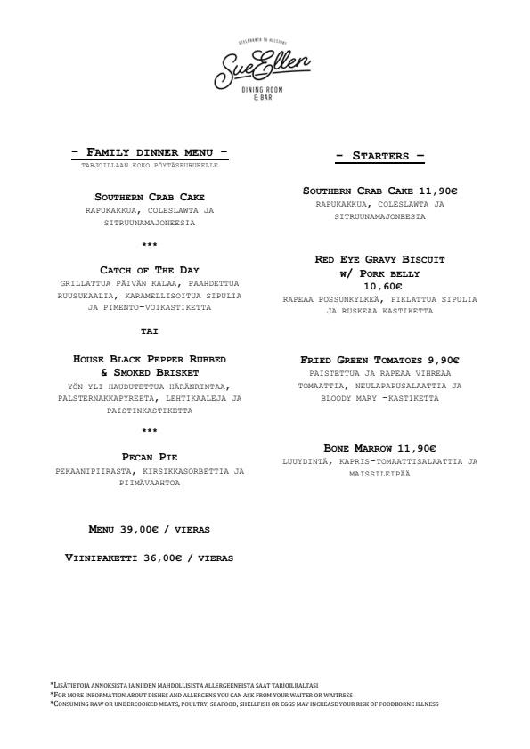 Sue Ellen menu 2/2