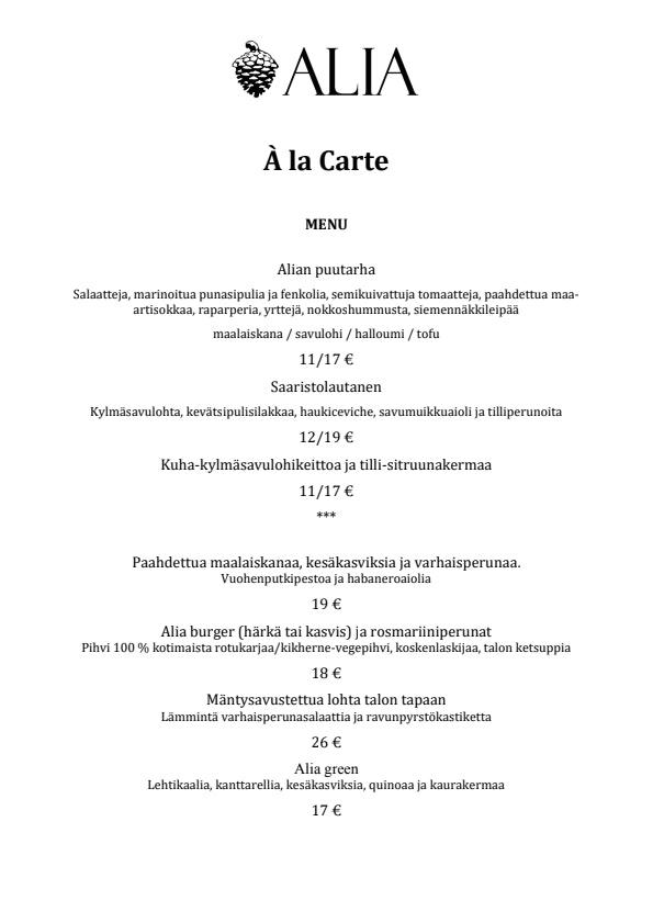 Alia menu 1/2