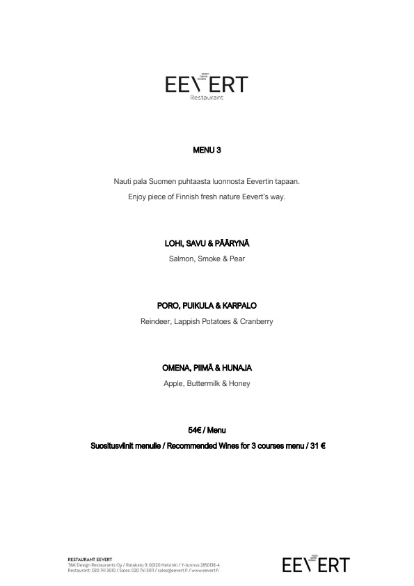 Restaurant Eevert menu 9/11