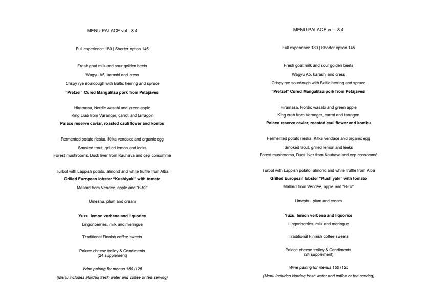 Palace menu 1/1