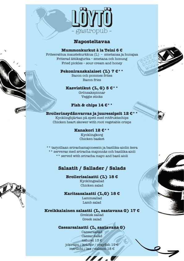 Gastropub Löytö menu 1/2