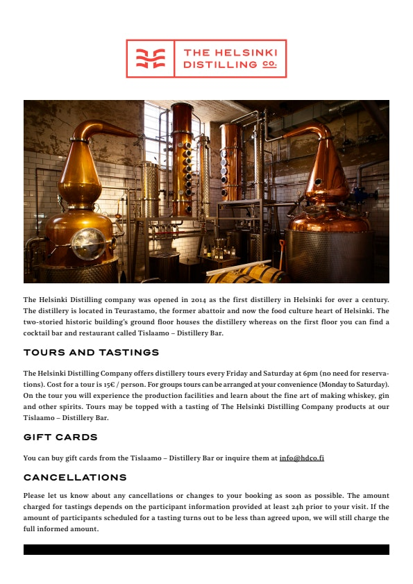 The Helsinki Distilling Co. tours & tastings menu 1/1