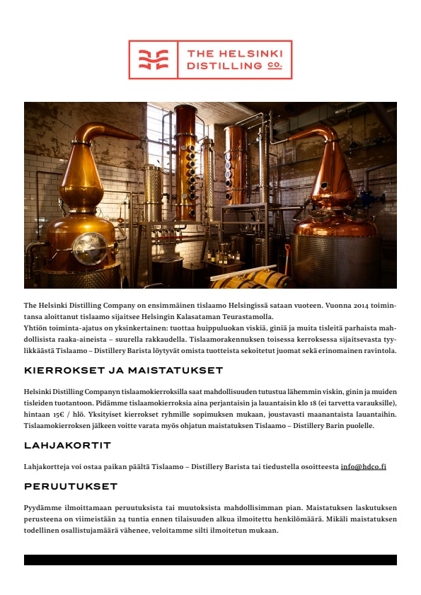 The Helsinki Distilling Co. tours & tastings menu 1/1