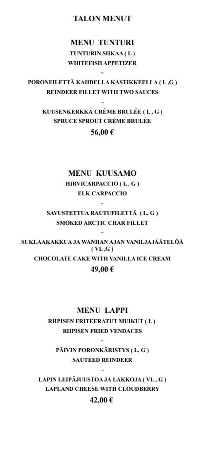 Riipisen Riistaravintola menu 1/7