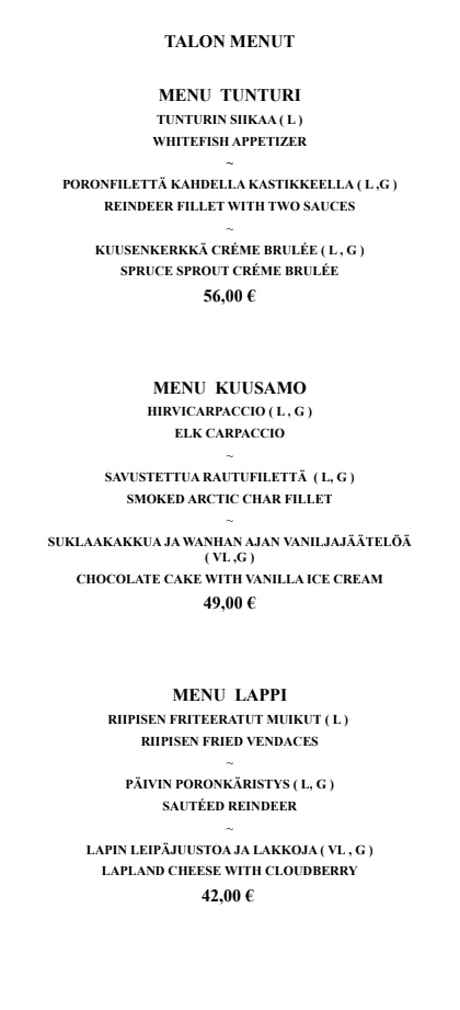 Riipisen Riistaravintola menu 7/7