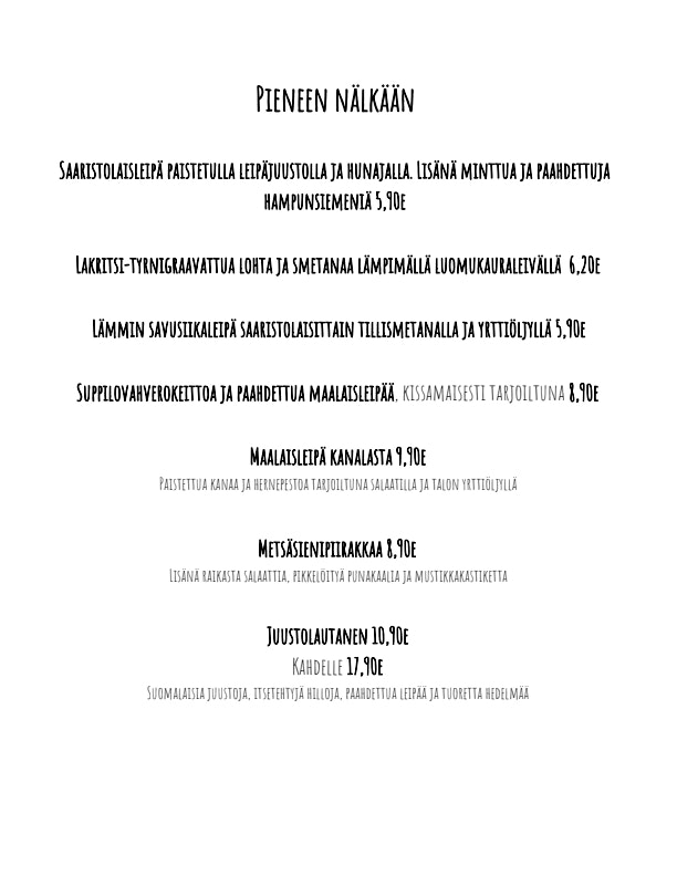Kissakahvila Helkatti menu 1/5
