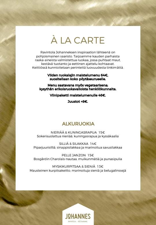 Ravintola Johannes, Hanasaari menu 1/2