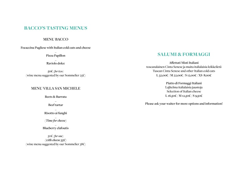 Bacco menu 1/6