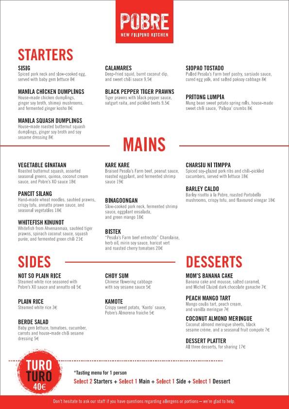 Pobre Filipino menu 1/1