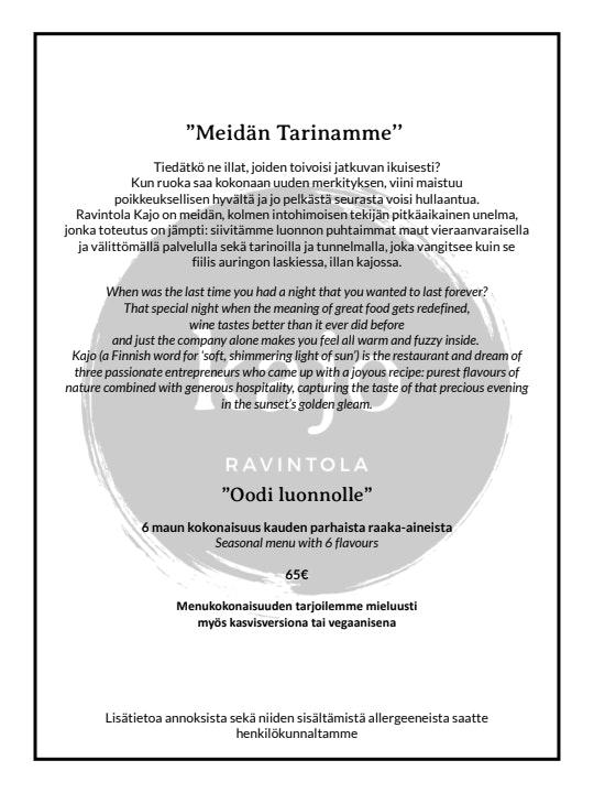 Ravintola Kajo menu 2/3
