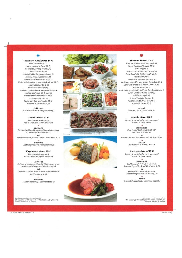 Royal Line Helsinki (Natalia & King) menu 1/2