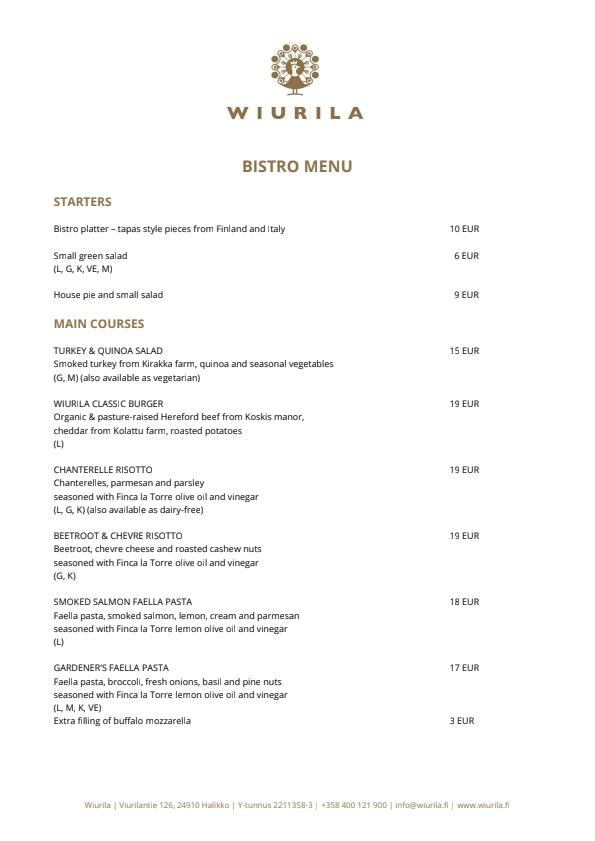 Wiurila Bistro menu 1/4