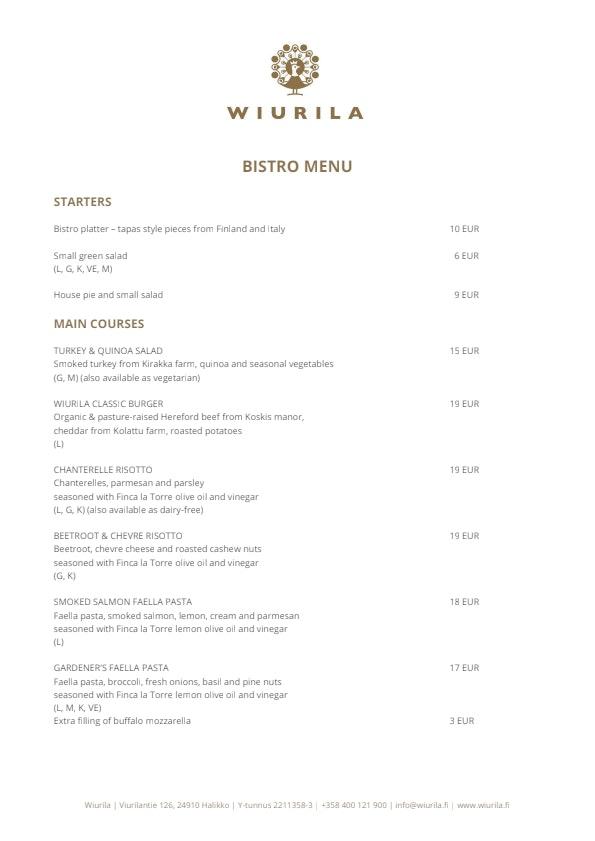 Wiurila Bistro menu 3/4