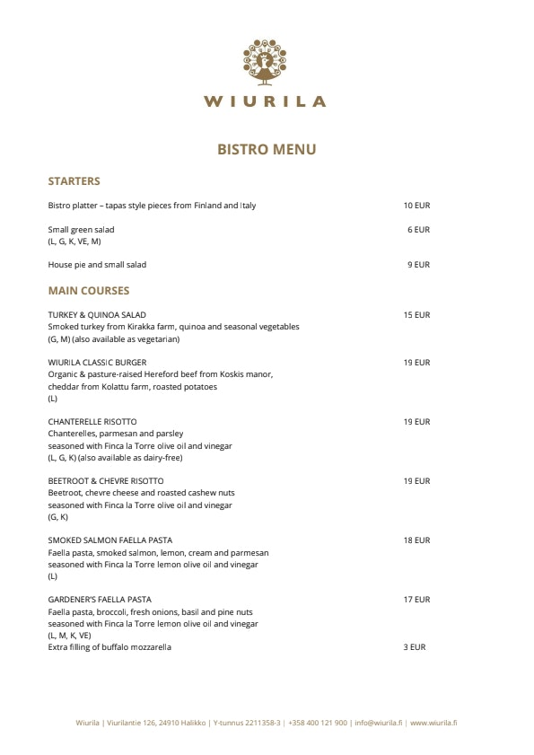 Wiurila Bistro menu 2/4