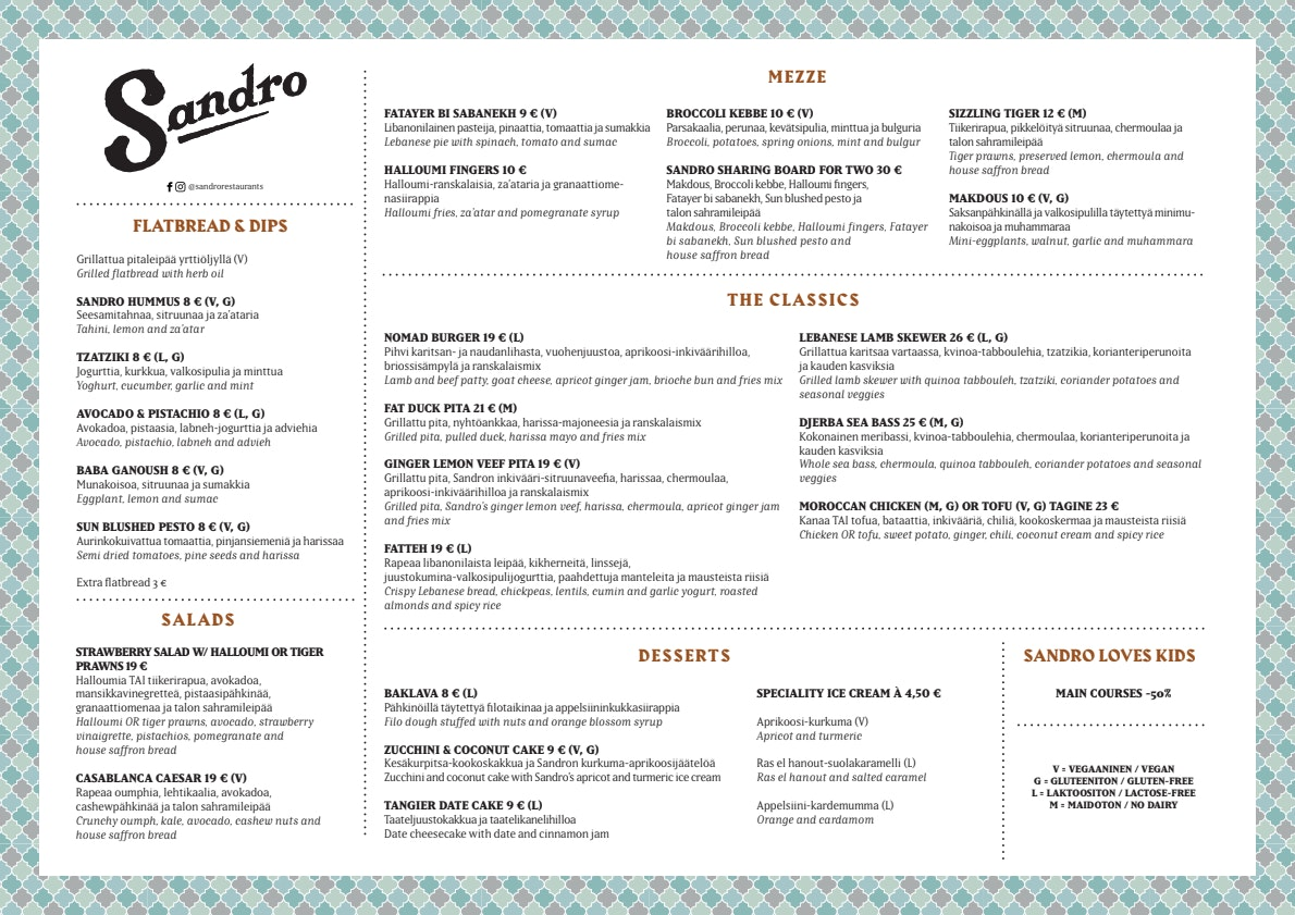 Sandro Ratina menu 1/1