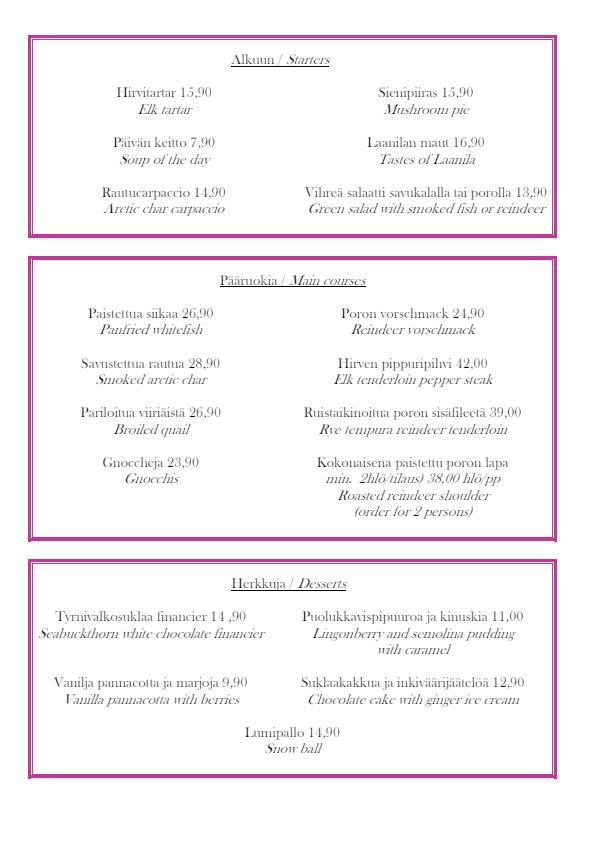 Laanilan Kievari menu 1/1