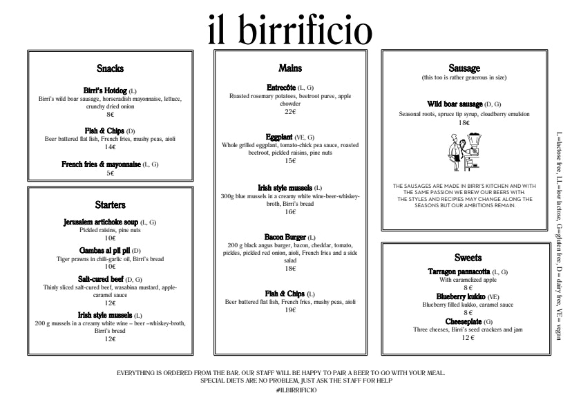Il Birrificio menu 1/2