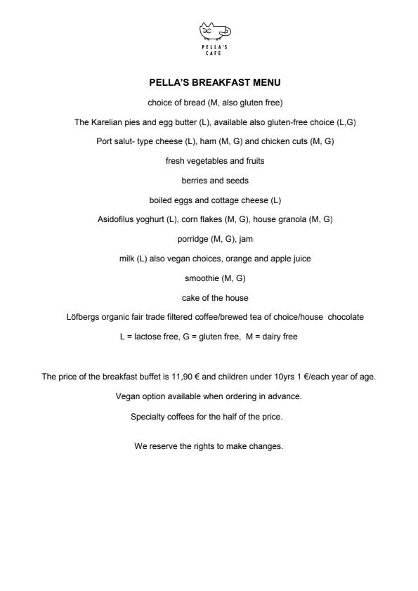 Pella's cafe menu 1/2
