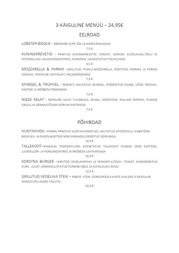Korsten Armastus & Hea Toit menu 1/2