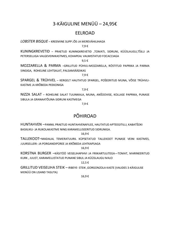 Korsten Armastus & Hea Toit menu 2/2