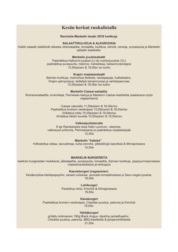 Ravintola Mankeli menu 1/2