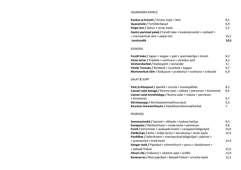 Saku Gastro menu 1/1