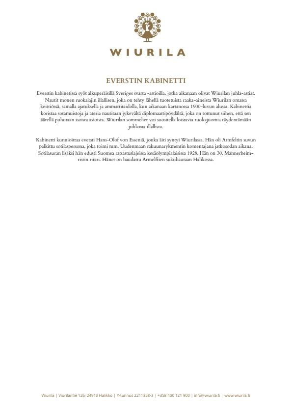 Everstin Kabinetti - Wiurila menu 1/2