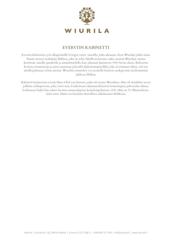 Everstin Kabinetti - Wiurila menu 2/2