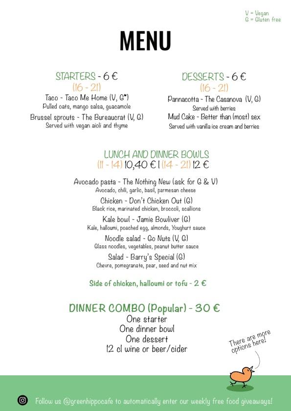 Green Hippo Cafe menu 3/4