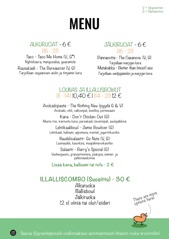 Green Hippo Cafe menu 1/4