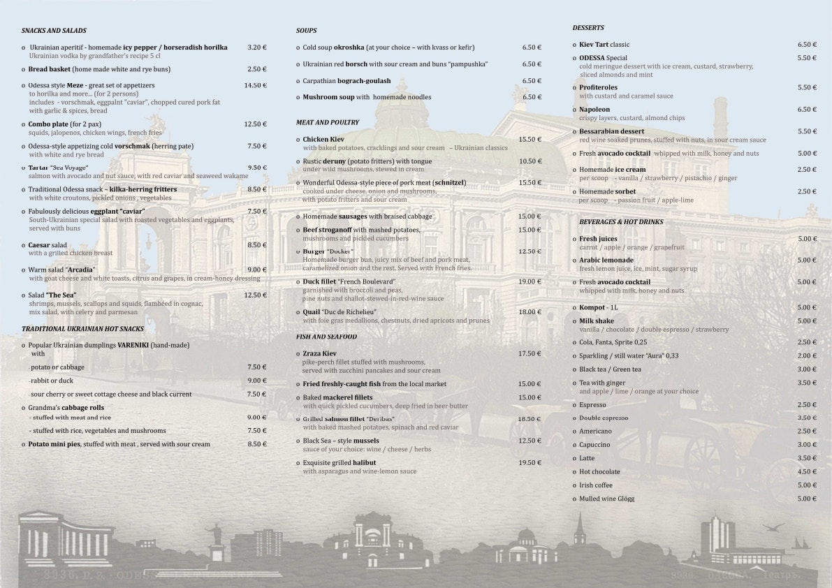 Odessa Restoran menu 1/1